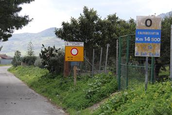 L'ingresso della SP n. 37 (lato San Carlo)