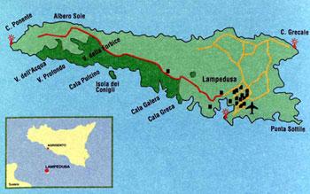 Mappa della riserva naturale isola di Lampedusa